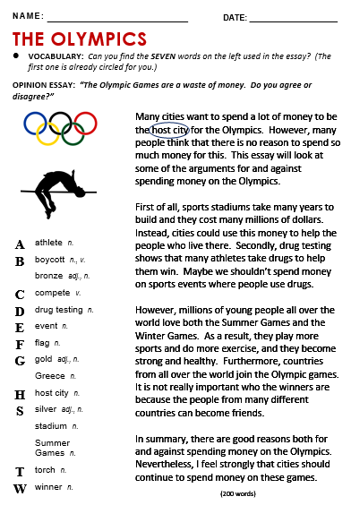 Olympic essay questions