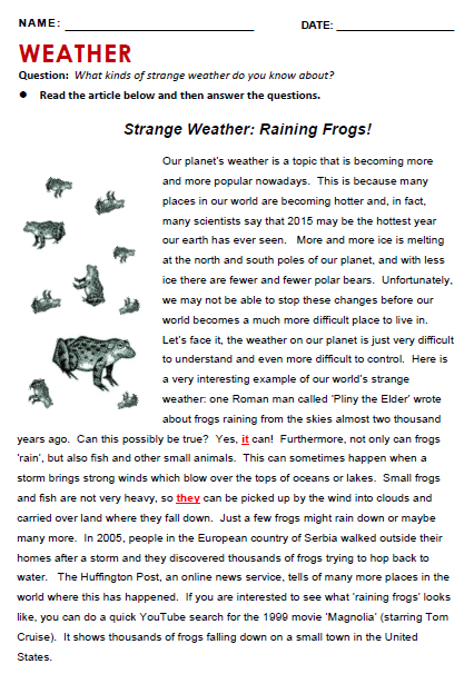 Weather all things topics reading and grammar weather strange weather ibookread