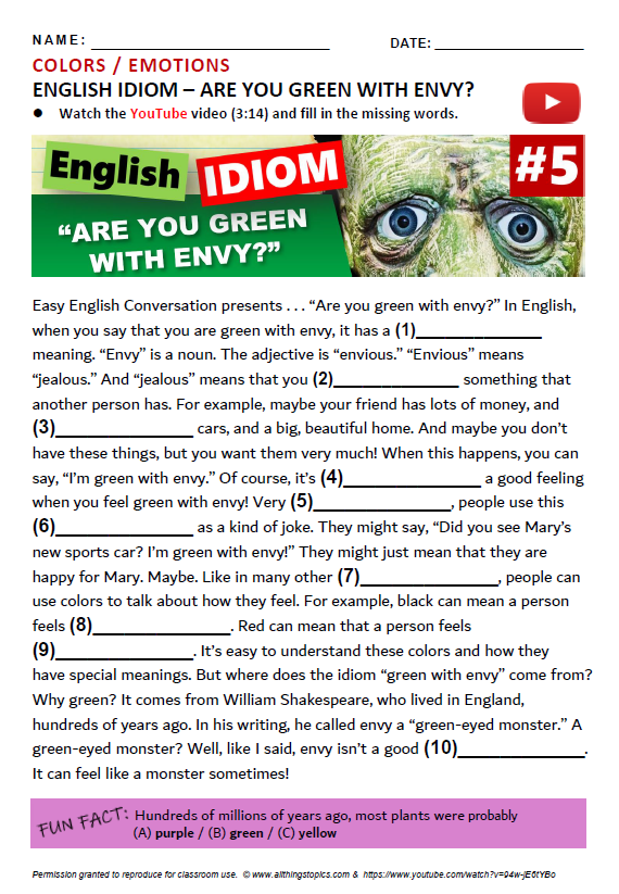 Idiom Quiz Green with envy - All Things Topics